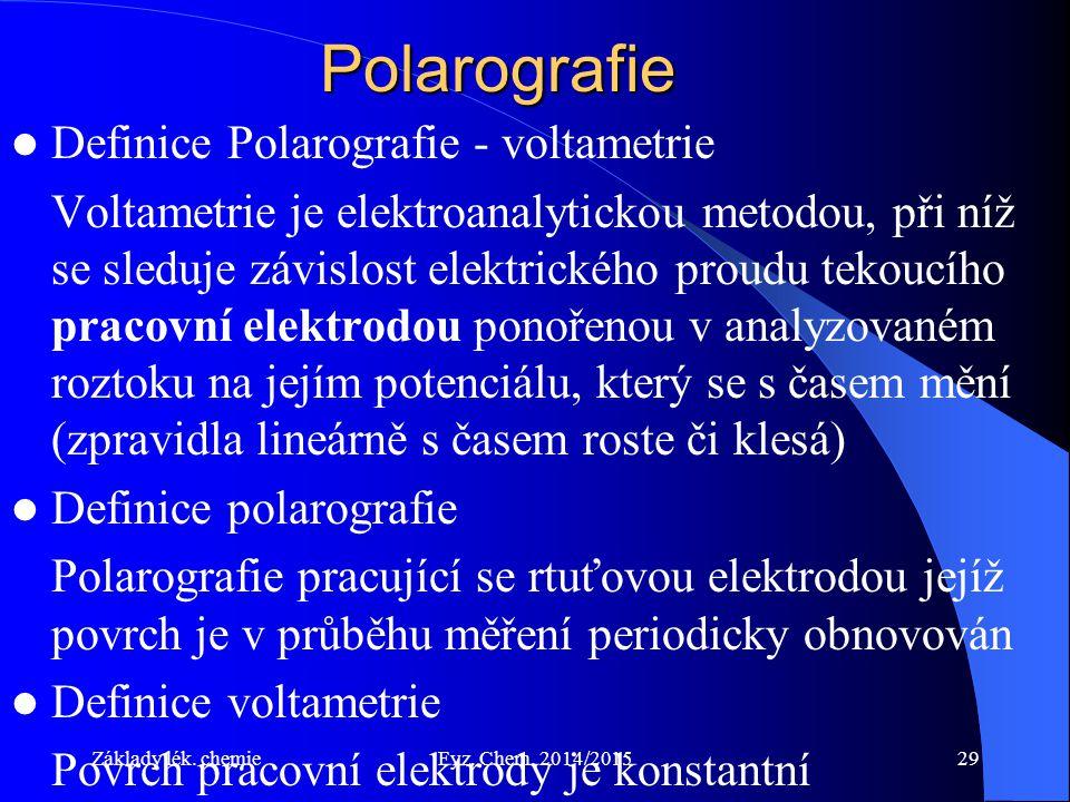 Polarografie Definice Polarografie - voltametrie