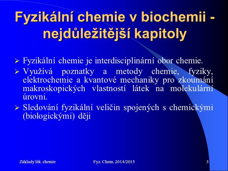 Fyzikální chemie v biochemii - nejdůležitější kapitoly
