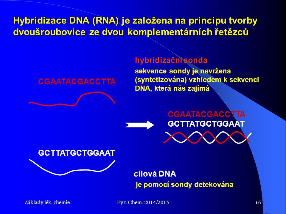 Hybridizace DNA (RNA) je založena na principu tvorby dvoušroubovice ze dvou komplementárních řetězců