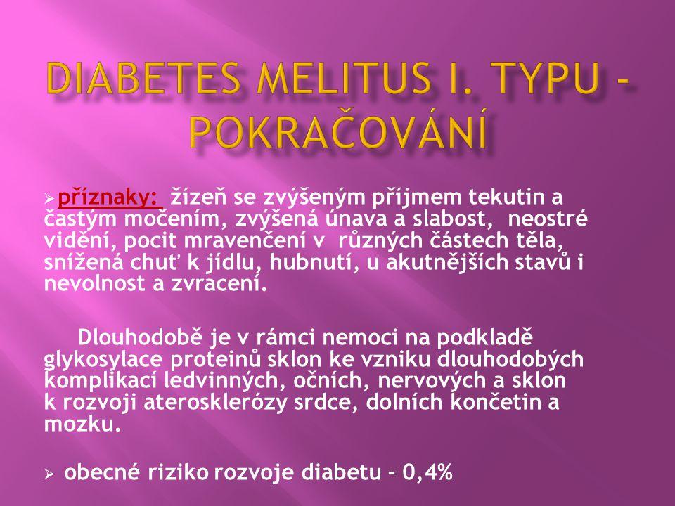 Diabetes melitus I. Typu - pokračování