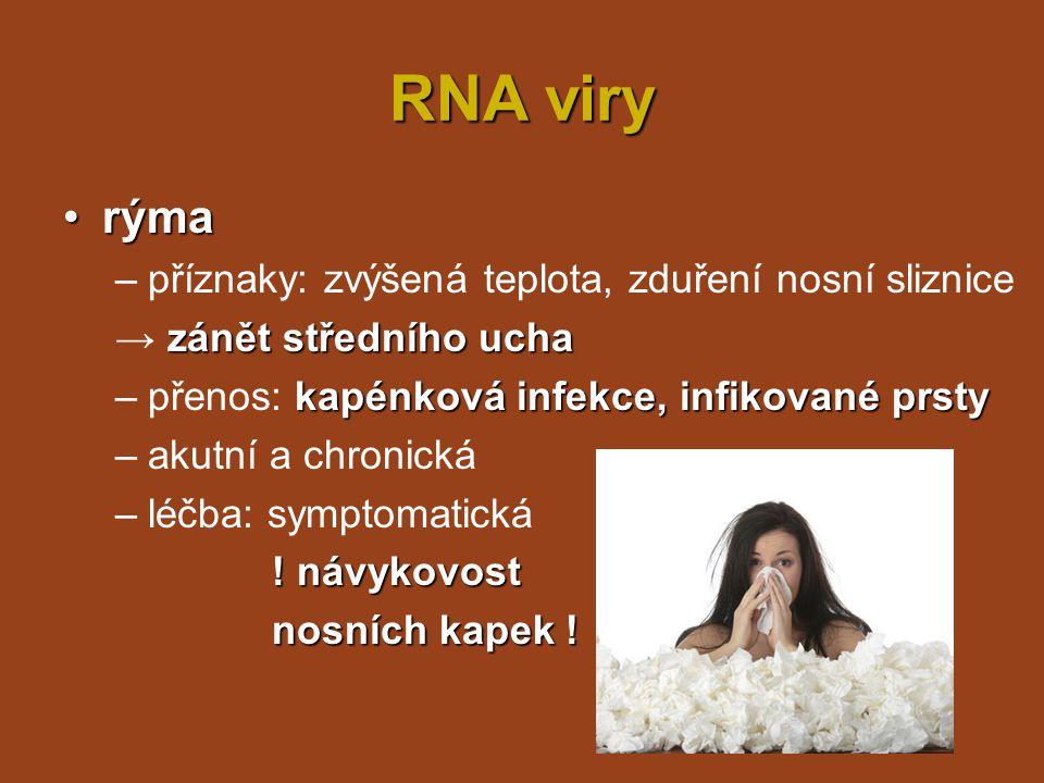 RNA viry rýma příznaky: zvýšená teplota, zduření nosní sliznice