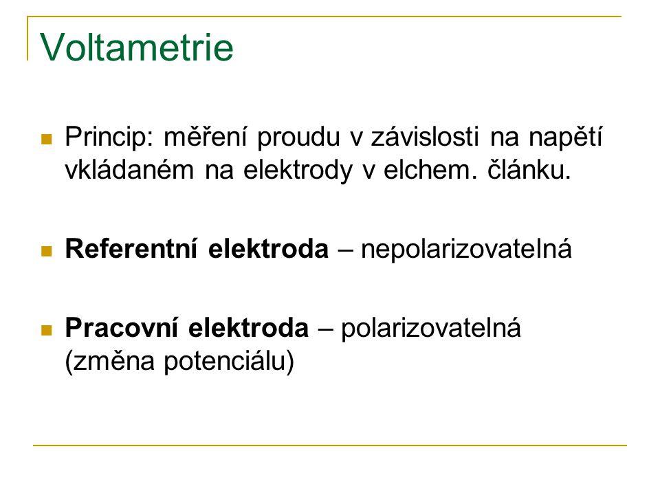Voltametrie Princip: měření proudu v závislosti na napětí vkládaném na elektrody v elchem. článku. Referentní elektroda – nepolarizovatelná.