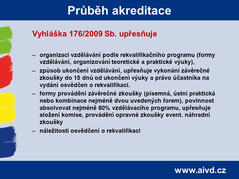 Průběh akreditace Vyhláška 176/2009 Sb. upřesňuje