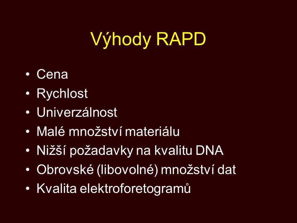 Výhody RAPD Cena Rychlost Univerzálnost Malé množství materiálu