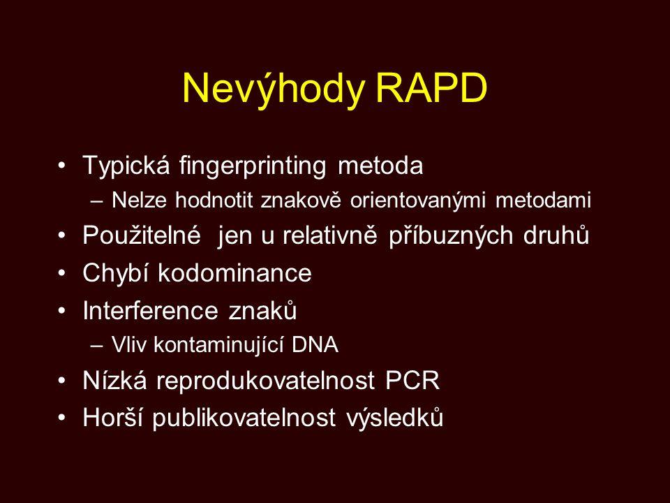 Nevýhody RAPD Typická fingerprinting metoda