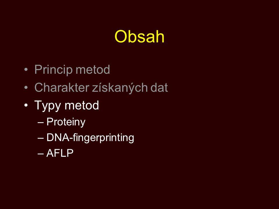 Obsah Princip metod Charakter získaných dat Typy metod Proteiny
