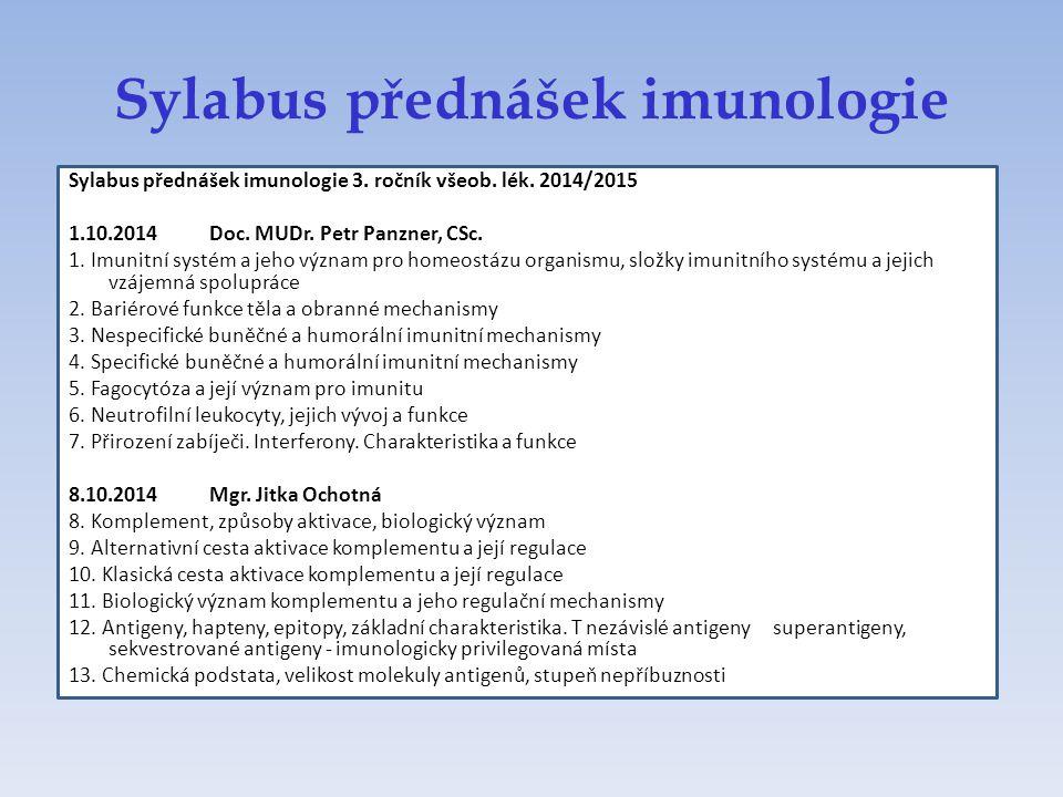 Sylabus přednášek imunologie