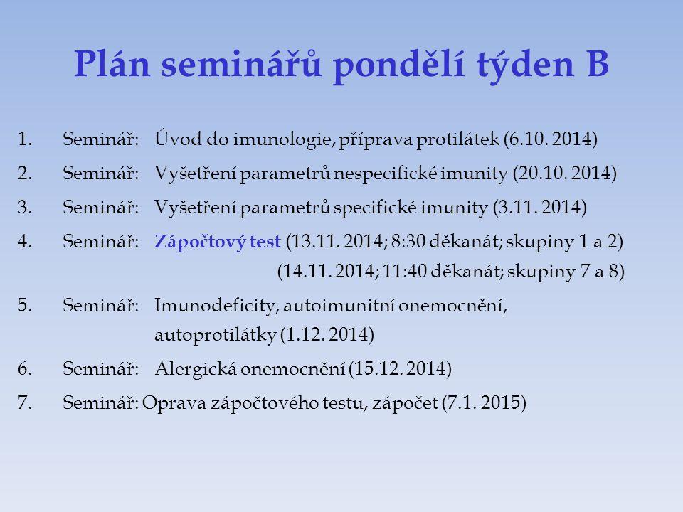 Plán seminářů pondělí týden B