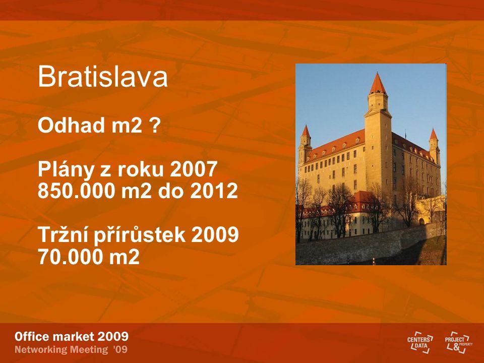 Bratislava Odhad m2 Plány z roku 2007 850.000 m2 do 2012