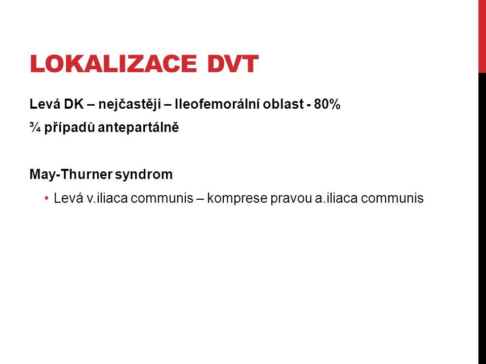 Lokalizace DVT Levá DK – nejčastěji – Ileofemorální oblast - 80%