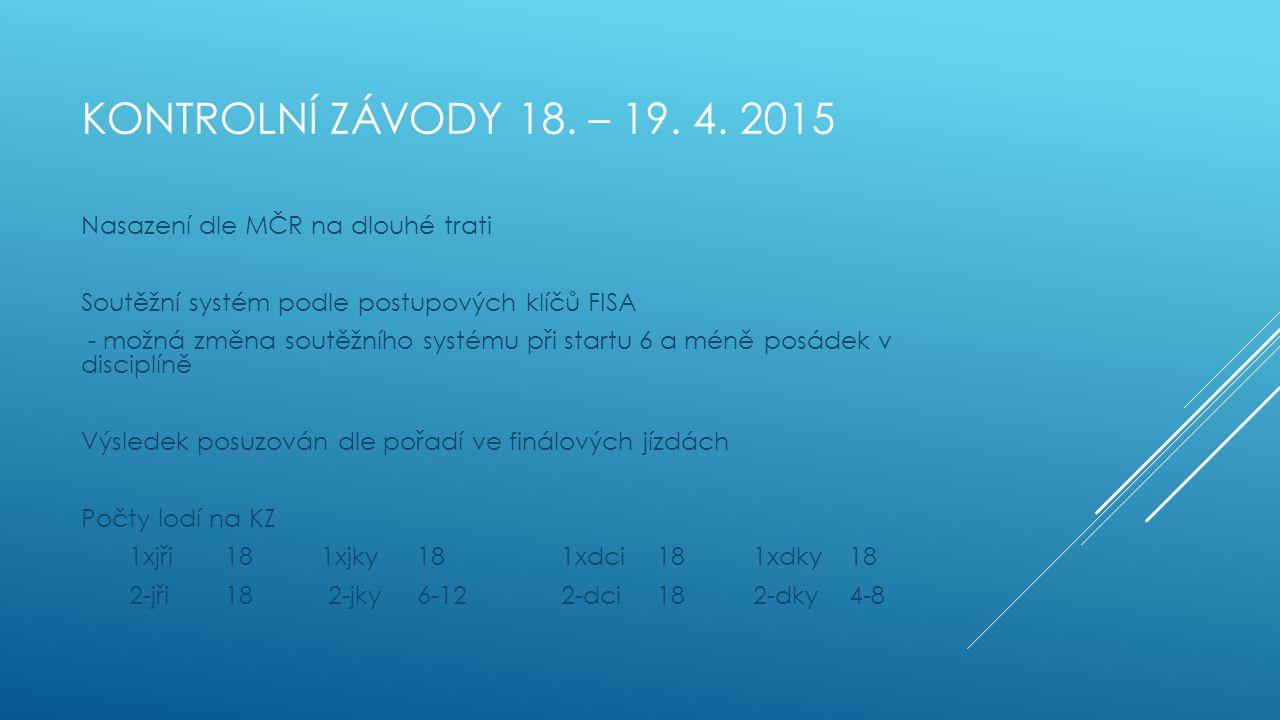 Kontrolní závody 18. – 19. 4. 2015 Nasazení dle MČR na dlouhé trati