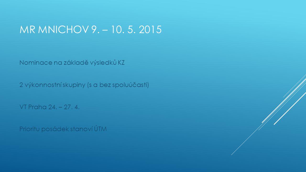 Mr mnichov 9. – 10. 5. 2015 Nominace na základě výsledků KZ