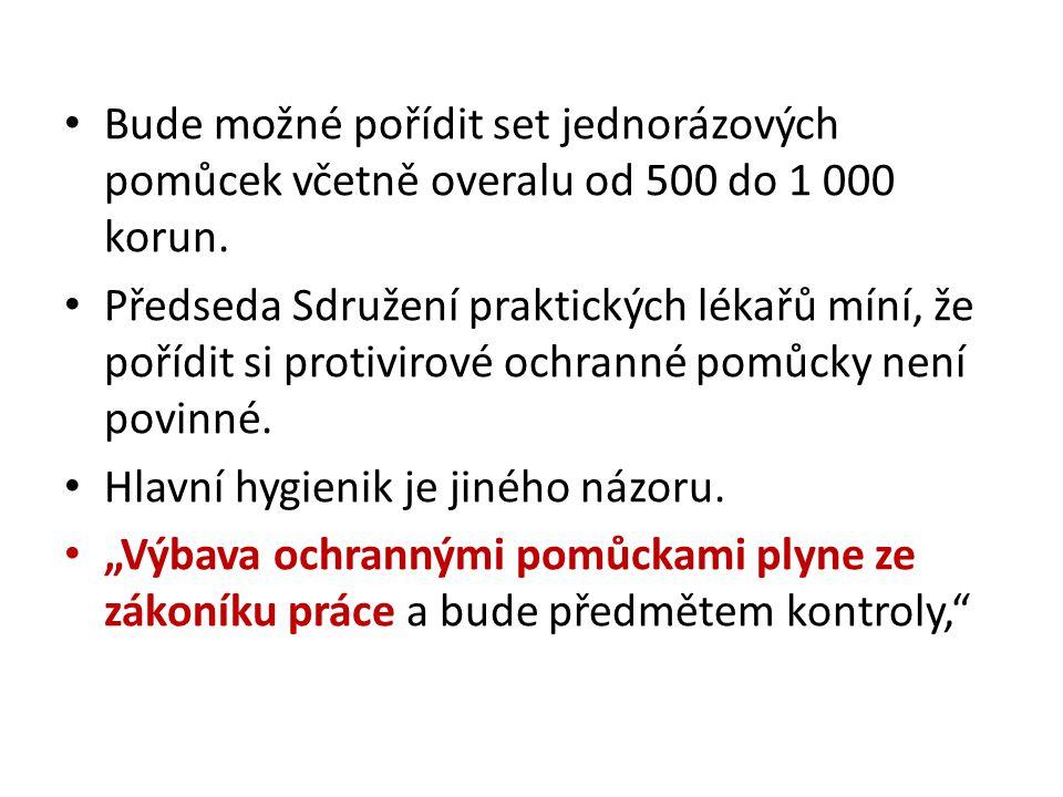 Bude možné pořídit set jednorázových pomůcek včetně overalu od 500 do 1 000 korun.