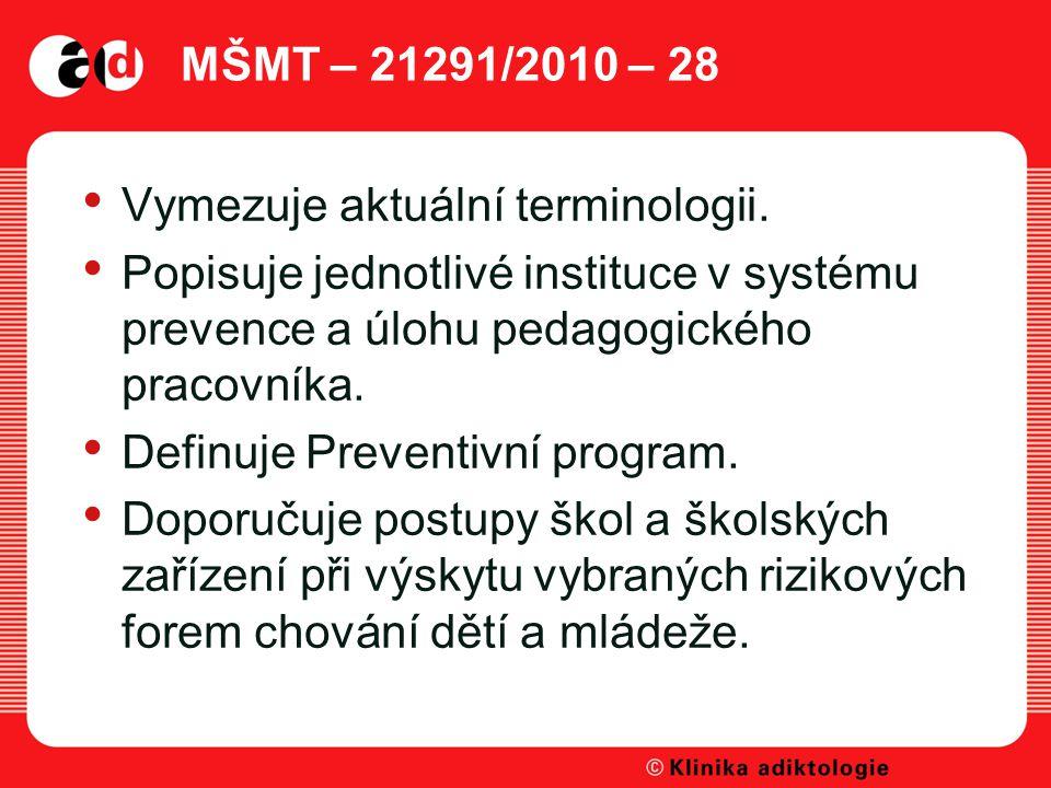 MŠMT – 21291/2010 – 28 Vymezuje aktuální terminologii. Popisuje jednotlivé instituce v systému prevence a úlohu pedagogického pracovníka.