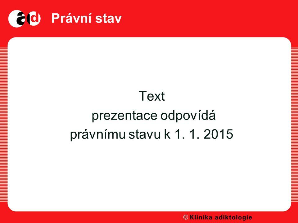 Text prezentace odpovídá právnímu stavu k 1. 1. 2015