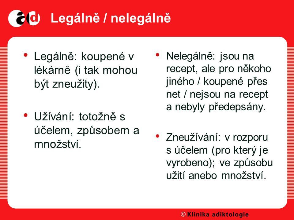 Legálně / nelegálně Legálně: koupené v lékárně (i tak mohou být zneužity). Užívání: totožně s účelem, způsobem a množství.