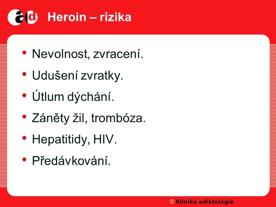 Heroin – rizika Nevolnost, zvracení. Udušení zvratky. Útlum dýchání. Záněty žil, trombóza. Hepatitidy, HIV.
