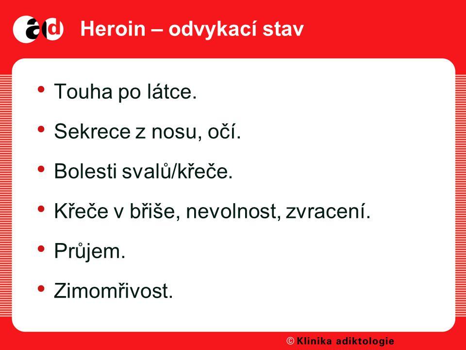 Heroin – odvykací stav Touha po látce. Sekrece z nosu, očí. Bolesti svalů/křeče. Křeče v břiše, nevolnost, zvracení.