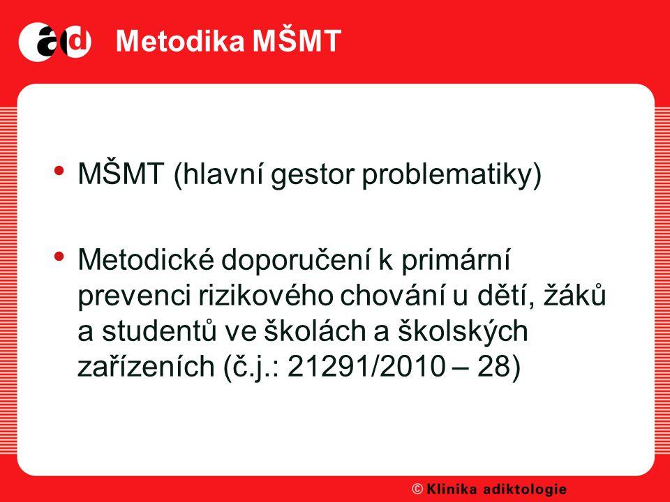 Metodika MŠMT MŠMT (hlavní gestor problematiky)