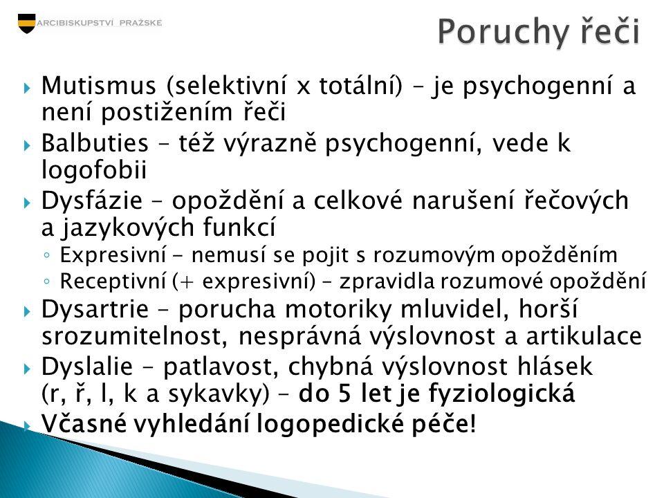 Poruchy řeči Mutismus (selektivní x totální) – je psychogenní a není postižením řeči. Balbuties – též výrazně psychogenní, vede k logofobii.