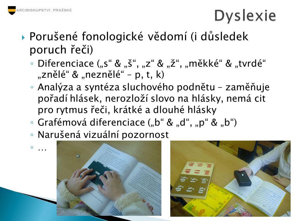 Dyslexie Porušené fonologické vědomí (i důsledek poruch řeči)