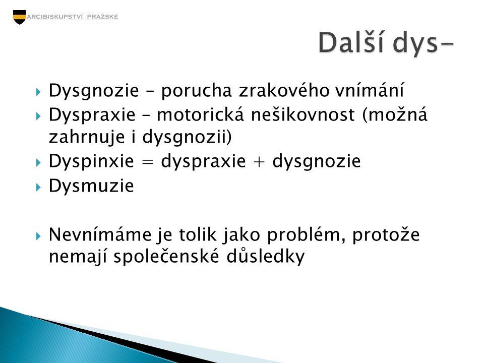 Další dys- Dysgnozie – porucha zrakového vnímání