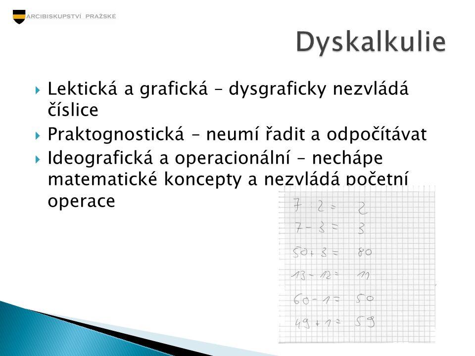 Dyskalkulie Lektická a grafická – dysgraficky nezvládá číslice