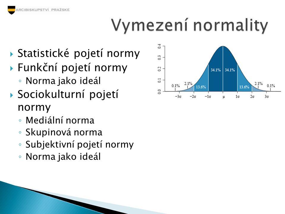 Vymezení normality Statistické pojetí normy Funkční pojetí normy