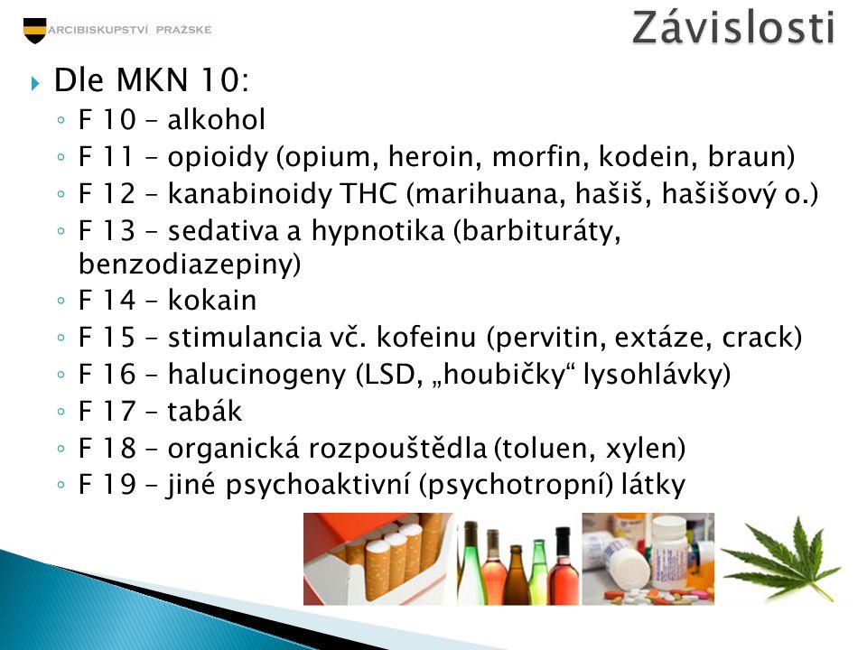 Závislosti Dle MKN 10: F 10 – alkohol