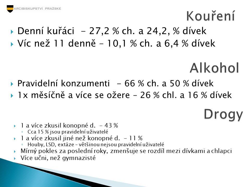 Alkohol Drogy Kouření Denní kuřáci - 27,2 % ch. a 24,2, % dívek