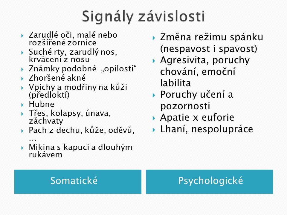 Signály závislosti Změna režimu spánku (nespavost i spavost)