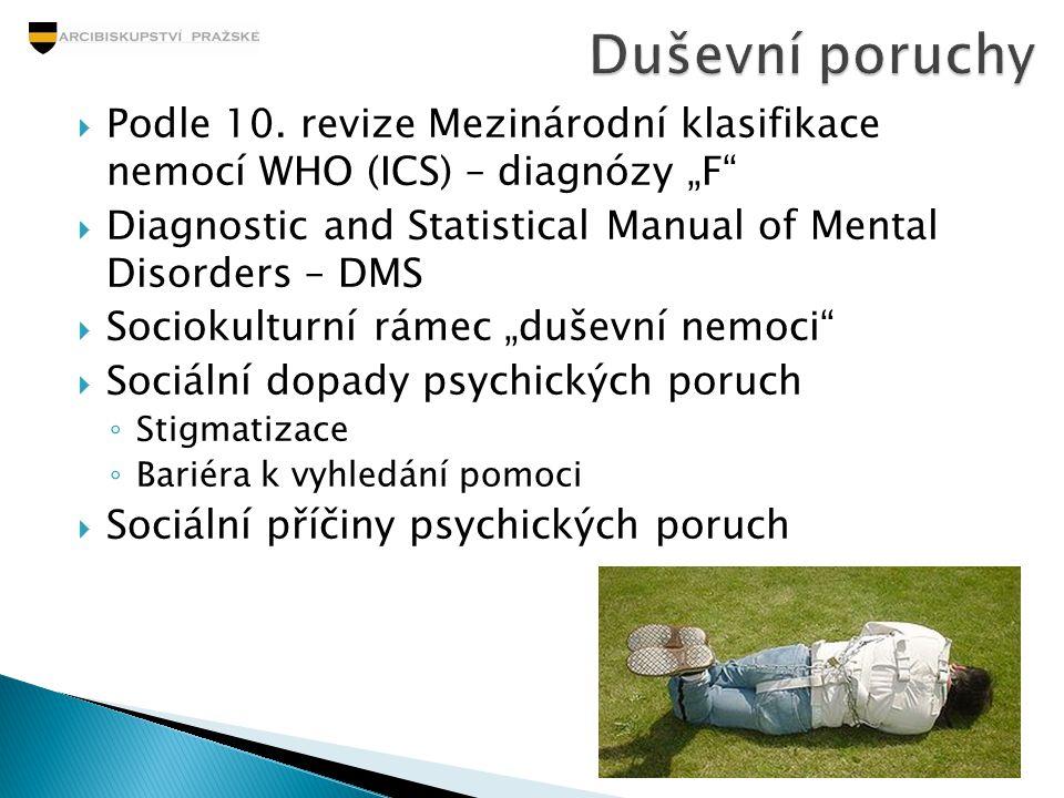 """Duševní poruchy Podle 10. revize Mezinárodní klasifikace nemocí WHO (ICS) – diagnózy """"F"""
