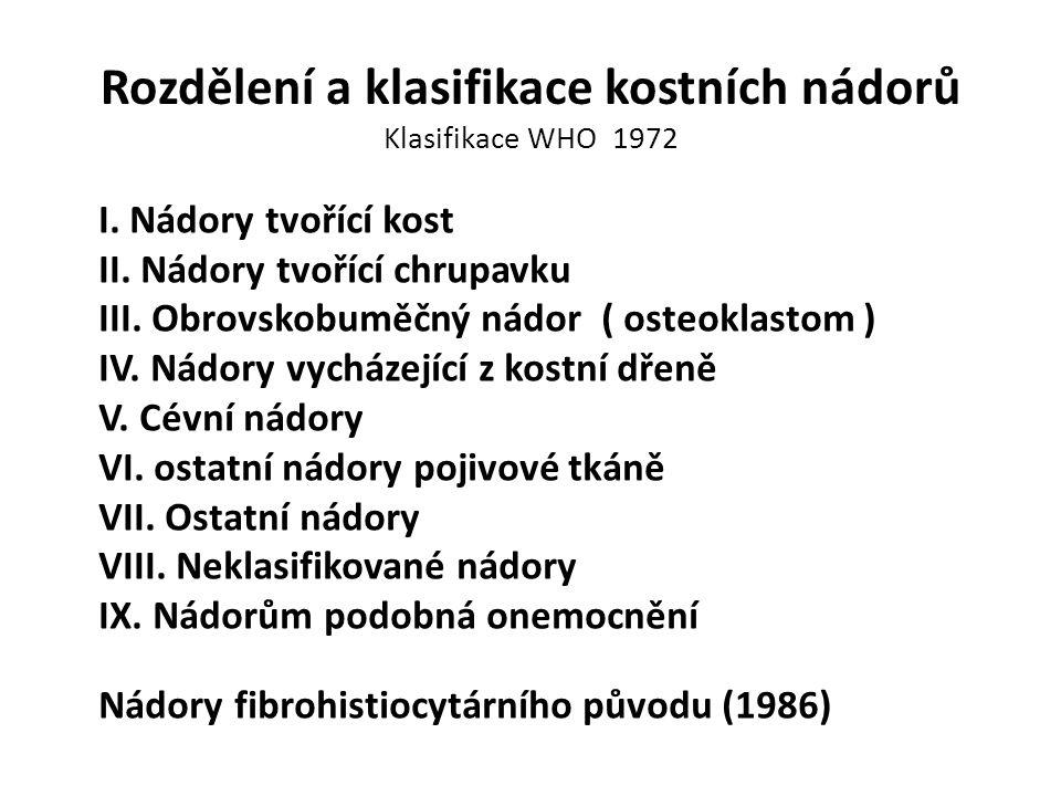 Rozdělení a klasifikace kostních nádorů Klasifikace WHO 1972