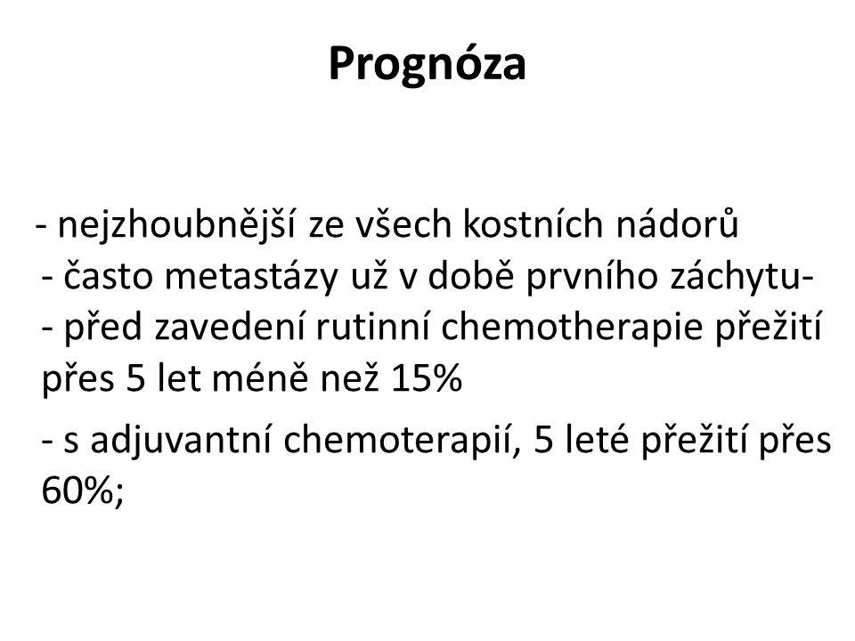Prognóza - s adjuvantní chemoterapií, 5 leté přežití přes 60%;