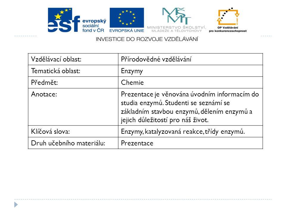 Vzdělávací oblast: Přírodovědné vzdělávání. Tematická oblast: Enzymy. Předmět: Chemie. Anotace: