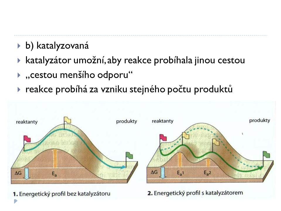 b) katalyzovaná katalyzátor umožní, aby reakce probíhala jinou cestou.
