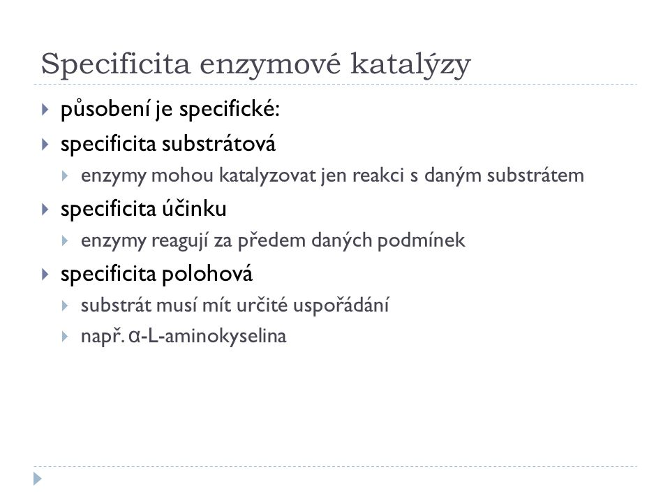 Specificita enzymové katalýzy