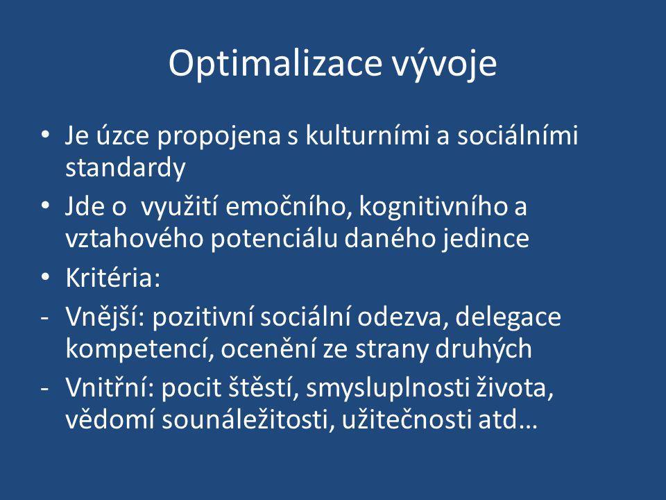 Optimalizace vývoje Je úzce propojena s kulturními a sociálními standardy.
