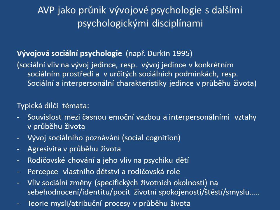 AVP jako průnik vývojové psychologie s dalšími psychologickými disciplínami