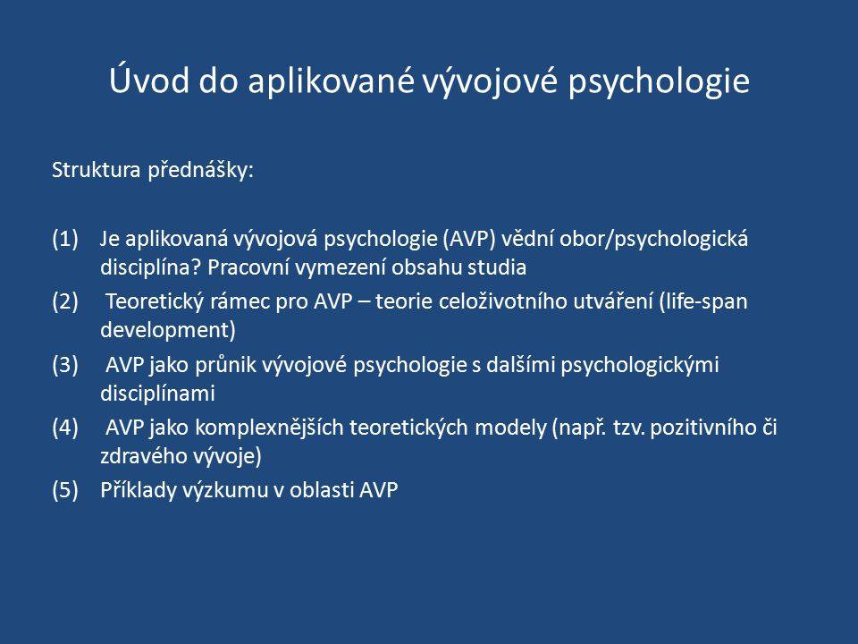 Úvod do aplikované vývojové psychologie