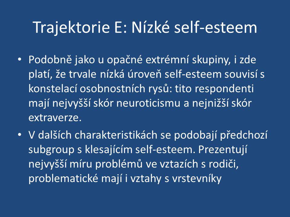Trajektorie E: Nízké self-esteem