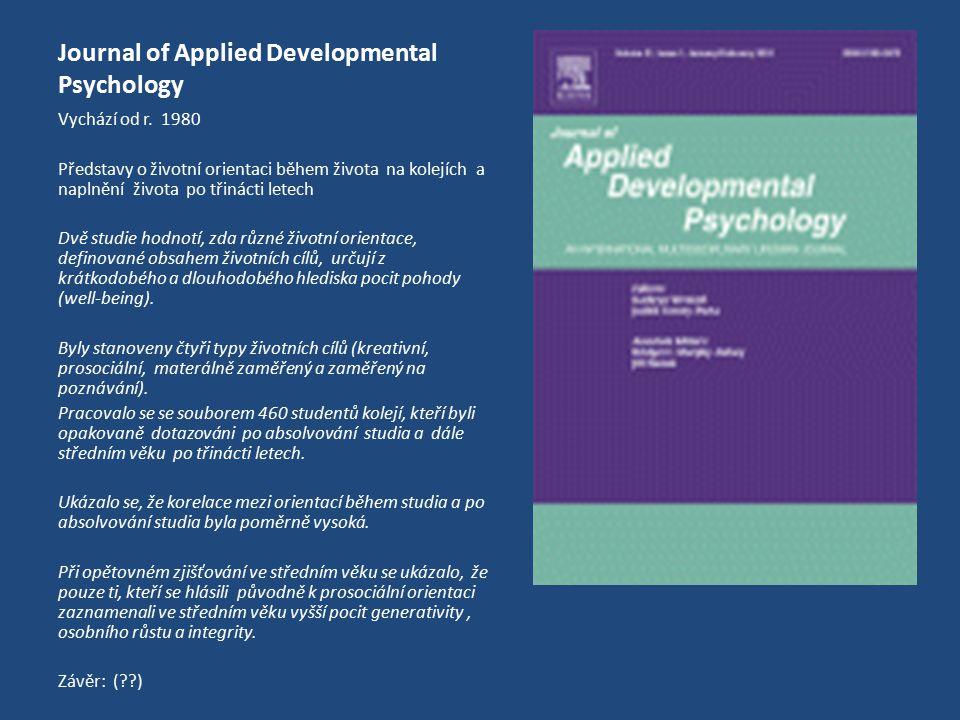 Journal of Applied Developmental Psychology