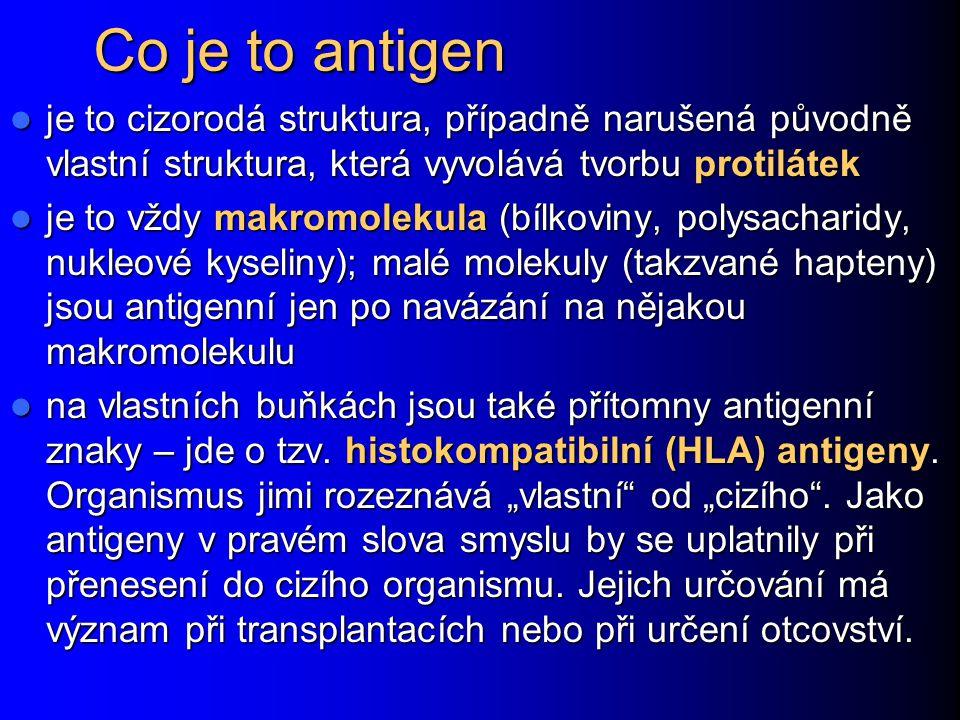 Co je to antigen je to cizorodá struktura, případně narušená původně vlastní struktura, která vyvolává tvorbu protilátek.