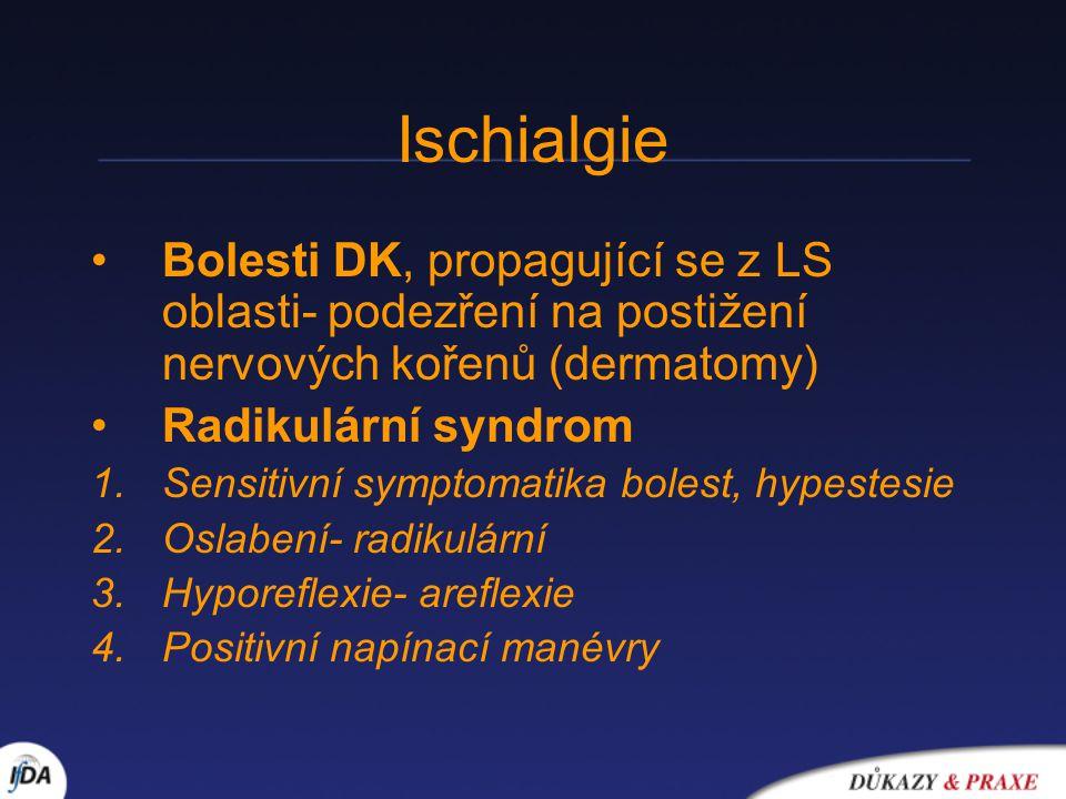 Ischialgie Bolesti DK, propagující se z LS oblasti- podezření na postižení nervových kořenů (dermatomy)