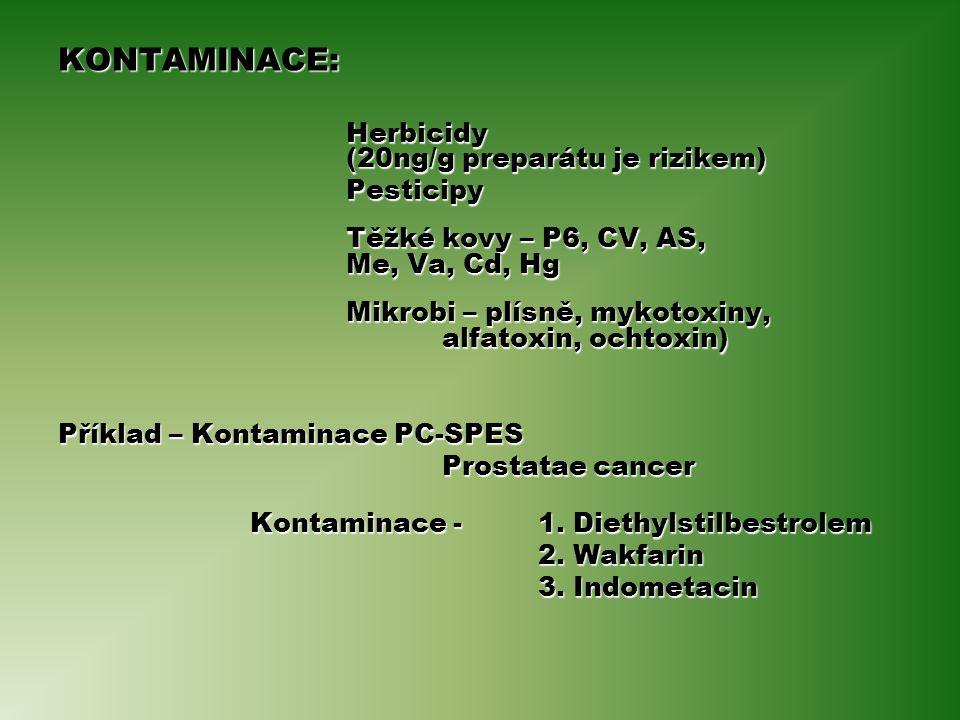KONTAMINACE: Herbicidy (20ng/g preparátu je rizikem) Pesticipy