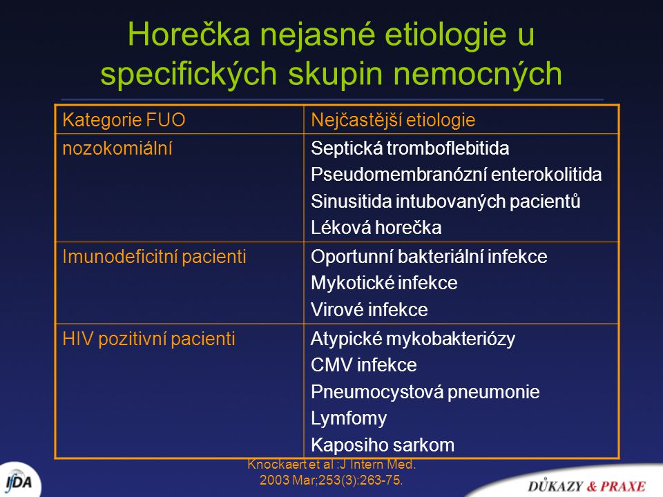 Horečka nejasné etiologie u specifických skupin nemocných