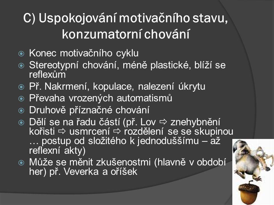 C) Uspokojování motivačního stavu, konzumatorní chování