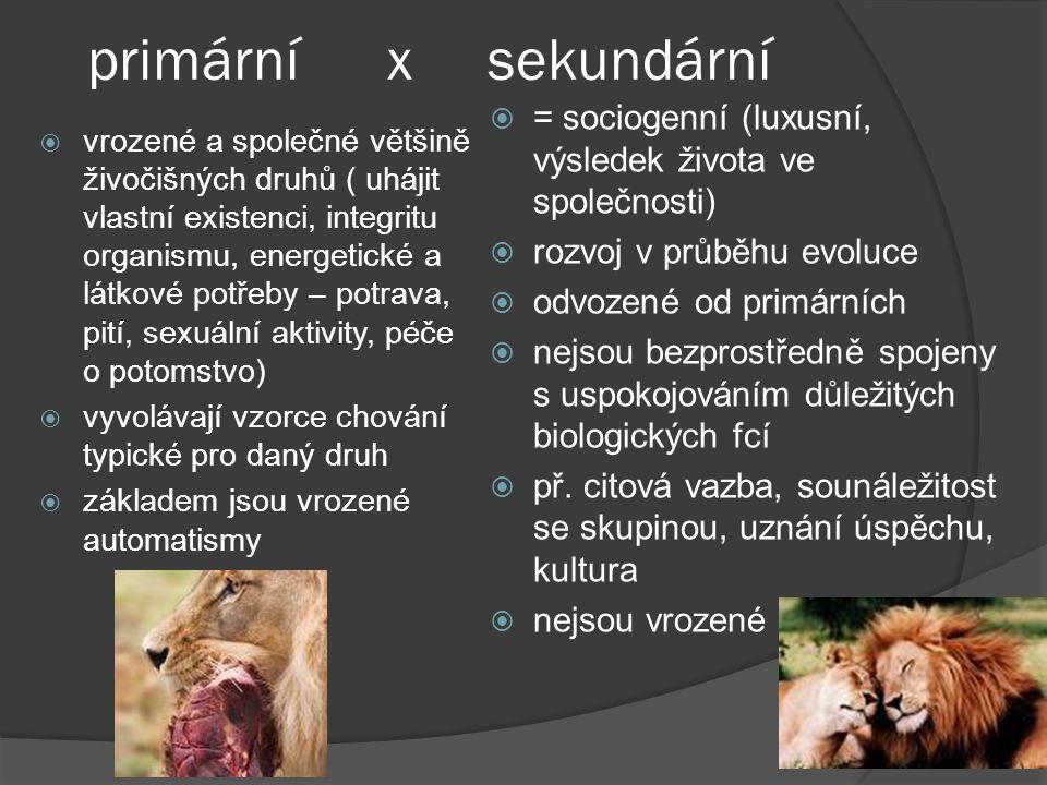 primární x sekundární = sociogenní (luxusní, výsledek života ve společnosti) rozvoj v průběhu evoluce.