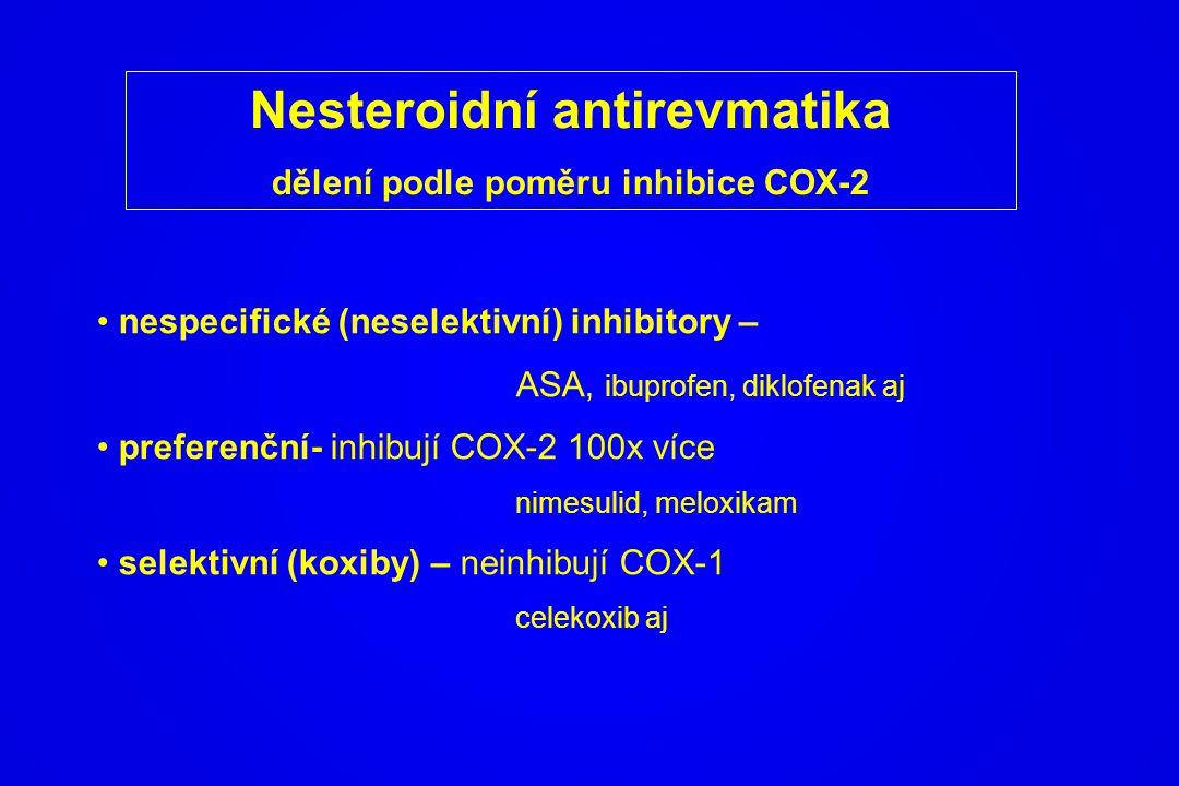 Nesteroidní antirevmatika dělení podle poměru inhibice COX-2