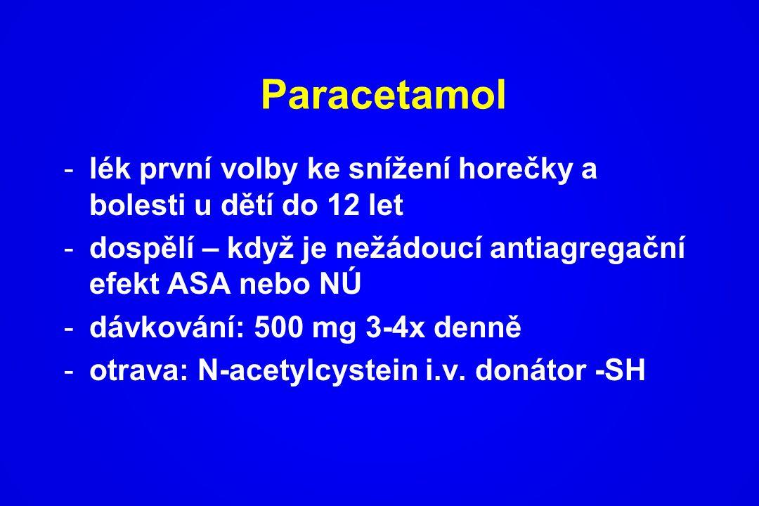 Paracetamol lék první volby ke snížení horečky a bolesti u dětí do 12 let. dospělí – když je nežádoucí antiagregační efekt ASA nebo NÚ.